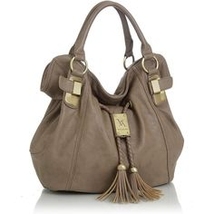 Purse Boutique: Taupe Oversized ''Savitha'' Hobo Vitalio Handbags,... ($50) ❤ liked on Polyvore featuring bags, handbags, shoulder bags, purses, accessories, carteras, hobo shoulder bag, oversized handbags, brown purse y brown hand bags