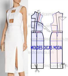 Faça a analise de forma atenta do desenho do vestido branco com cortes para que possa fazer a leitura da transformação de forma correta.