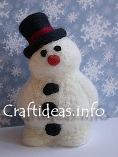 Christmas Craft Project - Needle Felted Styrofoam Snowman