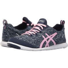 ASICS Metrolyte (Dark Navy/Light Pink/White) Women's Shoes (56 CAD) ❤ liked on Polyvore featuring shoes, athletic shoes, asics athletic shoes, slip on shoes, white low tops, white athletic shoes and white shoes