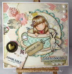 """Gorjuss stamp set """"Sweet Tea"""". Papers by MME."""