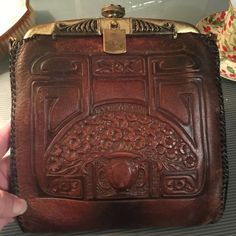 Image result for tooled leather bags Tooled Leather, Leather Tooling, Leather Bags, Western Purses, Green Suede, Hand Tools, Purse Wallet, Art Nouveau, Purses And Bags