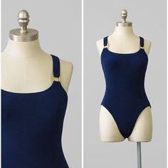 SALE - 80s Swimsuit - Navy Blue Swimsuit w/ Gold Buckles - High Cut Swimsuit - One Piece Bathing Suit - 1980s Swim Suit - Maillot Swimsuit
