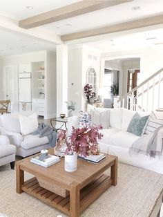 Pottery barn jute wool rug crate and barrel sofa white sofa neutral decor wood coffee table fall decor Benjamin Moore classic gray - April 27 2019 at Living Room Color Schemes, Fall Living Room, Living Room Transformation, Open Living Room, Elegant Living Room, Living Decor, Living Room Grey, Home Decor, Neutral Living Room