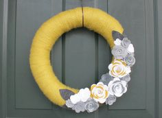 Yarn Wreath 14 Yellow White and Gray Wreath with Felt by cozymade