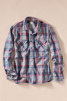 Men's Rugged Twill Popover Workshirt from Lands' End Canvas