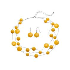 Yellow Bead Multi Strand Necklace & Drop Earring Set, Women's, Med Yellow