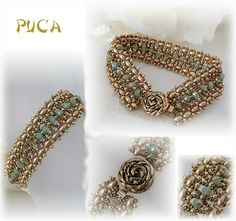 Golden and pale green picasso turquoise beaded bracelet. (Janel by Puca)