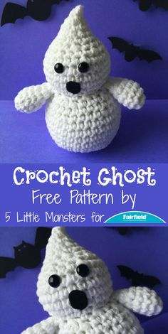 Free crochet Halloween Ghost pattern in US terminology.