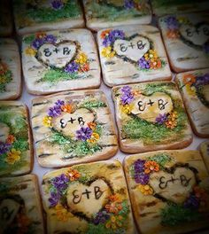 Wedding Favors - Heart carved in tree cookies by Isabelle @ Cotati Sugar Mamas Tree Cookies, Cupcake Cookies, Cupcakes, Oak Tree Wedding, Wedding Favors, Carving, Sugar, Desserts, Weddings