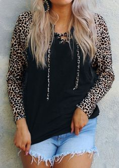 Leopard Printed Splicing Lace Up Blouse - Trendy Outfits Leopard Shirt, Leopard Print Top, Trendy Outfits, Fashion Outfits, Ladies Fashion, Red Blouses, Blouse Styles, Black Blouse, Fashion Brand