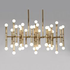 Jonathan Adler Meurice Meurice Rectangular Chandelier Antique Brass Finish by Robert Abbey 687