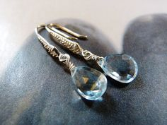 Sky blue topaz Sterling silver earrings natural jewelry by Mirma