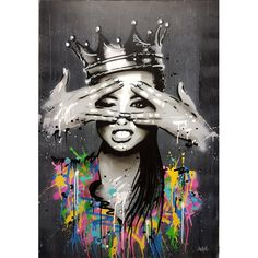 Portrait Picture Canvas Painting Figure Wall Art Graffiti - Art World Graffiti Wall Art, Banksy Graffiti, Graffiti Painting, Street Art Graffiti, Graffiti Girl, Street Wall Art, Graffiti Wallpaper, Bansky, Graffiti Pictures