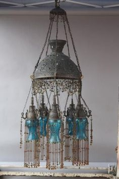 Unique Frosted Glass Lamp With Beaded Fringe Vintage