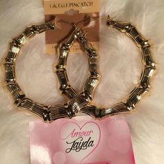 Amour Jayda Earings Gold rigged hoop earrings Jewelry Earrings