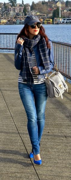 Oversized Plaid Stripes & Mariner Blue