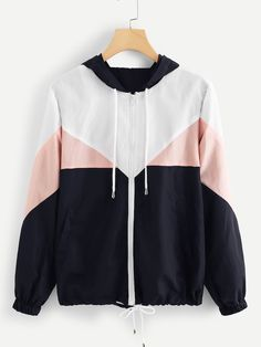 ROMWE Zipper Color Block Drawstring Hem Hooded Bomber Jacket Women Casual Autumn Clothing Coats Spring Multicolor Outerwear - multi,s Lightweight Rain Jacket, Hooded Bomber Jacket, Bomber Jackets, Windbreaker Jacket, Fall Outfits, Fashion Outfits, Fashion Fashion, Fashion Black, Stylish Outfits