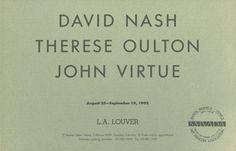 Louver gallery presents: David Nash, Therese Oulton, John Virtue including works by David Nash, Therese Oulton, John Virtue.