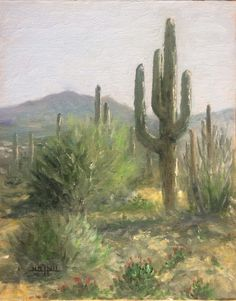 "havasu  desert sentinel oil by H Mark Hall 14""X11"""