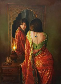 Artist Kamal Rao's Lady in the Mirror Painting Online. Red oil Painting by Kamal Rao on Canvas, Realistic based on theme Realism. Indian Women Painting, Indian Art Paintings, Indian Artist, Mirror Painting, Woman Painting, Family Painting, Mirror Art, Mirror Image, Painting Art