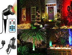 {Idée décoration de Noël} Noza Tec Projecteur Ciel Etoile Vert et Rouge Avec Télécommande Décoration du Jardin et Noël pour…