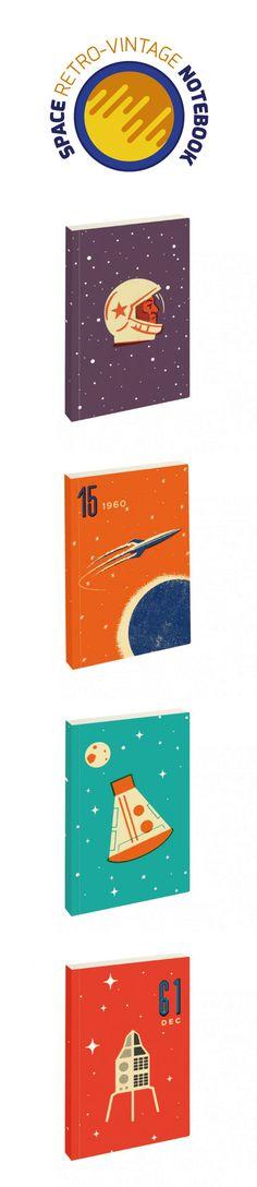 Notebook Cosmos es una celebración colorida de esos días pioneros de la exploración espacial, teniendo la influencia del vibrante arte de la era soviética comúnmente visto en un sellos y los carteles. #notebook, #espacio, #cosmos, #universo, #retro, #vintage, #diseño