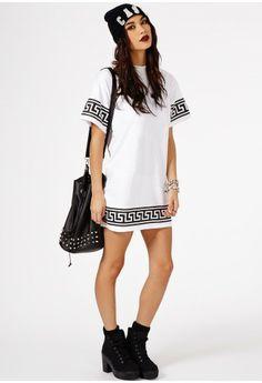 Kikita Greek Key Print Oversized T-Shirt Dress - Dresses - Mini Dresses - Missguided have this in black & gold