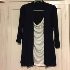 Blue and white blouse. Dressy, casual, blue and white drape-neck shirt with built in tank. Thin and soft. PerSeption Concept Tops Blouses