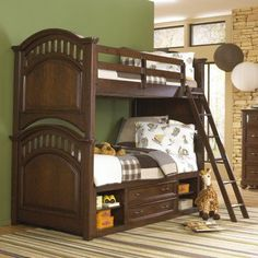 Expedition Twin over Twin Bunk Bed - Cherry - HOMM340-3, Durable
