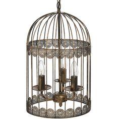 Lustre cage noir avec effet pinceau or 16178