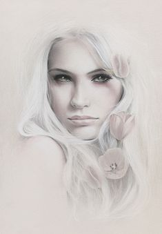 beautiful girl in neutral tones with tulips, Deviant Art