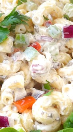 Classic Easy Macaroni Salad-Just like Mom used to make! Delicious pasta with all the right goodies tossed in an extra creamy, thick dressing! Macaroni Salad Ingredients, Easy Macaroni Salad, Classic Macaroni Salad, Easy Salads, Healthy Salad Recipes, Creamy Pasta, Pasta Salad, Cooking Recipes, Vegetarian