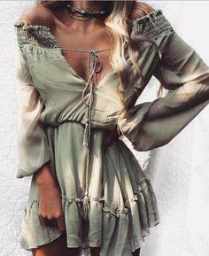 Off Shoulder Long Sleeve Beach Summer Dress