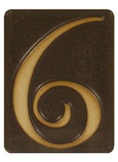 Pewabic Pottery Ceramic House Number 6-Matte Black Pottery Houses, Ceramic Houses, Art Mots, Pewabic Pottery, Ceramic House Numbers, Mission Style Homes, Craftsman Decor, California Bungalow, Door Numbers