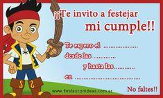 Encontrá esta tarjetita con calidad para imprimir y muchas más ingresando a:  http://www.fiestasconideas.com.ar/fiestas-infantiles/jake-y-los-piratas-disney-tarjetas-para-imprimir.html