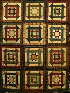 Churn Dash & 8 Point Star quilt made with homespuns Primitive Quilts, Antique Quilts, Vintage Quilts, Rag Quilt, Patch Quilt, Quilt Blocks, Churn Dash Quilt, Country Quilts, Star Quilt Patterns
