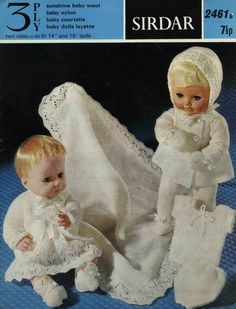 "Vintage Baby Doll Layette, 14"" and 16"" Doll, Knitting Pattern, 1960 (PDF) Pattern, Sirdar 2461 by DaleStratford on Etsy"