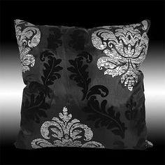 """2X BLACK SILVER DAMASK THROW PILLOW CASES COVERS 17"""""""