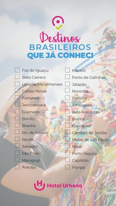 Check the list of Brazilian destinations you already know … – Travel World Places To Travel, Travel Destinations, Places To Go, Travel Jobs, Brazil Travel, Travel Checklist, Travel Organization, Instagram Blog, Bullet Journal Ideas Pages