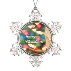 Beige candle and colourful heart bokeh Merry Christmas Snowflake Ornament by #PLdesign #ChristmasGift