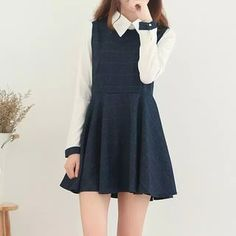 Buy aigan mock two-piece plaid mini dress in 2019 Preppy Outfits, Teen Fashion Outfits, Korean Outfits, Girly Outfits, Cute Outfits, Cute Asian Fashion, Korean Fashion Trends, Korean Street Fashion, Japanese Fashion