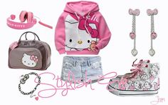 Hello Kitty for your lil diva! Hello Kitty Clothes, Hello Kitty Coloring, Stylish Eve, Cute Creatures, For Stars, Kittens Cutest, Fashion Advice, Outfit Of The Day, Baby Strollers