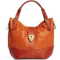 Brooks Brothers Shrunken Leather Large Hobo Bag found on Polyvore