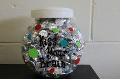 KISS YOUR BRAIN jar... I love this more than the TREAT JAR that I used for years until I dropped it and it shattered all over the floor. Definitely using a plastic jar this time! THANK YOU, DEANNA JUMP for the genius idea! :D