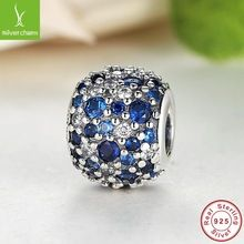 100 Real 925 Sterling Silver Ocean Mosaic Charm Beads Fit Original font b Pandora b font