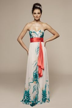 Liz Fields Bridesmaid/Social Dress in Teal Infusion Print & Coral ... i so want!!!
