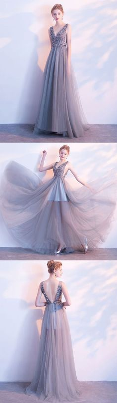 Gray v neck beaded tulle long prom dress, gray evening dress M1927#prom #promdress #promdresses #longpromdress #2018newfashion #newstyle #promgown #promgowns #formaldress #eveningdress #eveninggown #2019newpromdress #partydress #meetbeauty #aline #grey #vneck #beaded #tulle