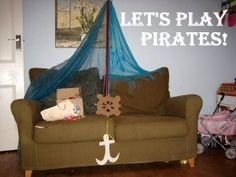 We love reading pirate stories and playing pirates after. I love this! Turning your couch into a ship! Sometimes we use our glider chair...it rocks! :)