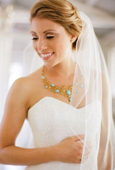 Brides: Wedding Hairstyles that Work Well with Veils  - A Soft Updo Wedding Hairstyle for Long Hair  Keep your tresses soft and natural with a loose updo. Pin a simple, fountain veil toward the back for a classic look.  Brides.com